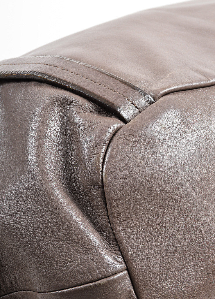 Taupe Prada Leather Bucket Bag Detail