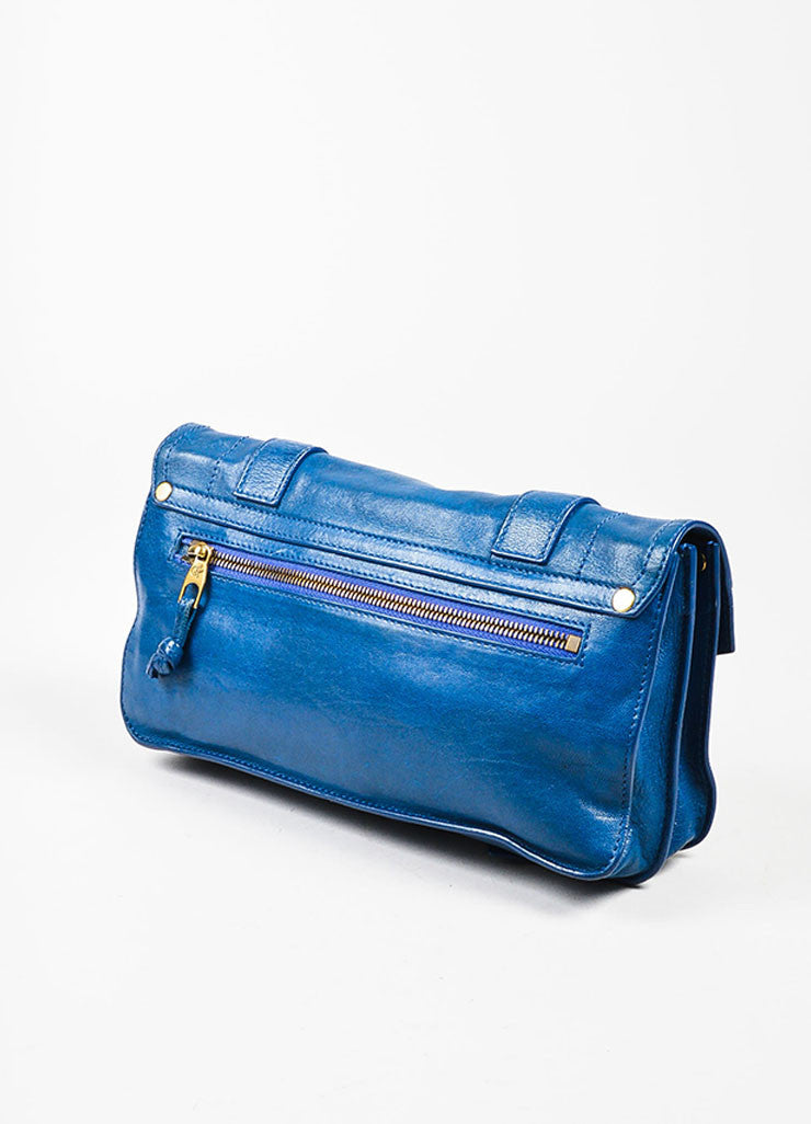 "Proenza Schouler Blue Leather Gold Toned Closure Belt Detail ""PS1"" Clutch Bag Sideview"