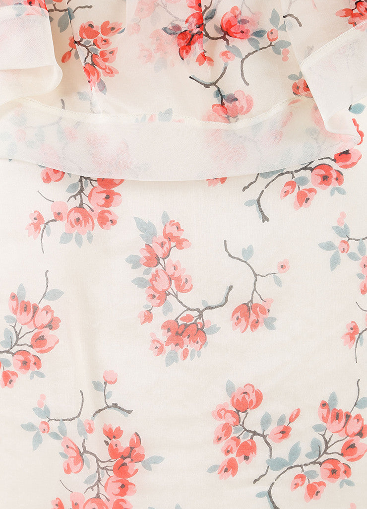 Red Valentino New With Tags Cream and Pink Floral Print Silk Ruffle Sleeveless Shift Dress Detail