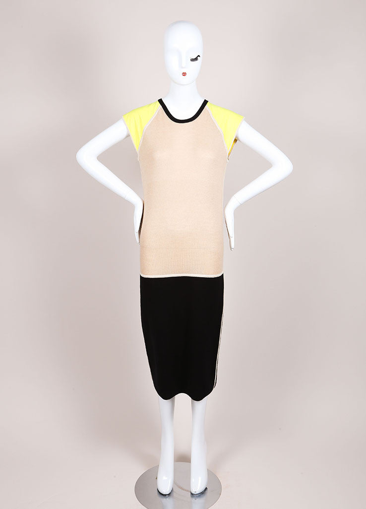 Reed Krakoff New With Tags Black, Tan, and Yellow Colorblock Cap Sleeve Knit Dress Frontview