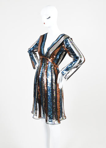 Multicolor Rodarte Sequin Striped Long Sleeve Dress Sideview