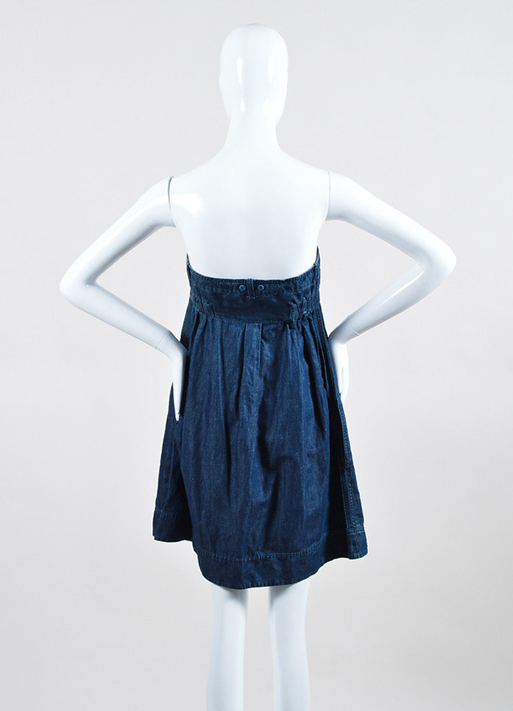 See by Chloe Blue Chambray Strapless Dress Backview