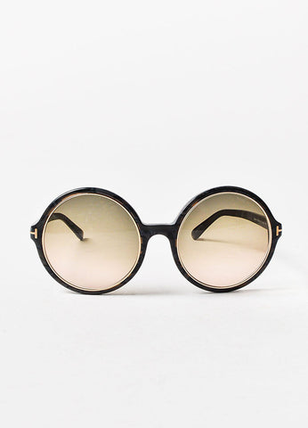 "å´?ÌÜTom Ford Grey Mottled Gold Toned Trim ""Carrie"" Oversized Round Sunglasses Frontview"