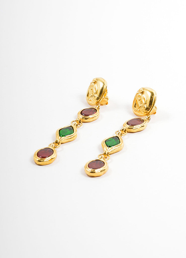 "Chanel Gold Toned, Red, and Green Gripoix ""Coco Chanel"" Drop Earrings Sidevie"