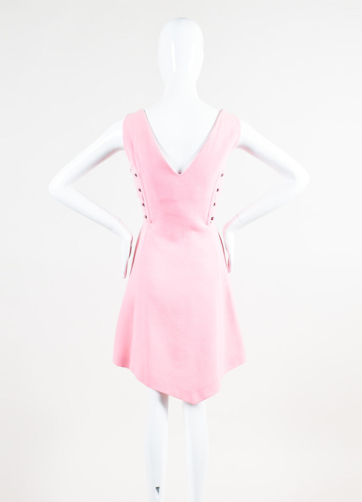 Vintage Light Pink Gianni Versace Crepe Knit Sleeveless A-Line Dress Backview