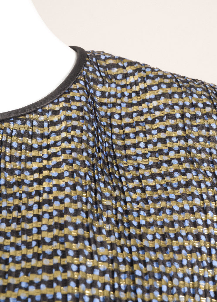 Vintage Navy Blue and Gold Metallic Patterned Long Sleeve Tunic Top Detail
