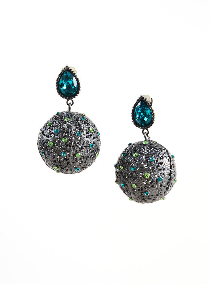 Yves Saint Laurent Grey, Blue, and Green Rhinestone Metal Ball Drop Earrings Frontview