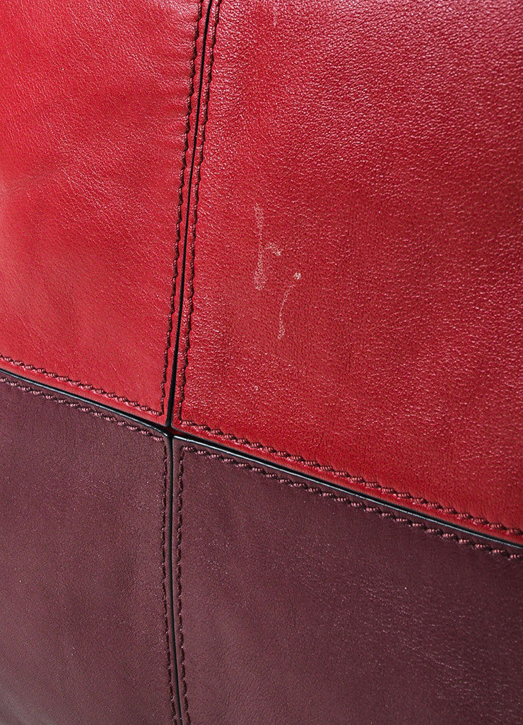 "Valentino Red and Burgundy Leather ""Claret"" Colorblock Tote Bag Detail 2"