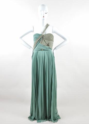 Versace Collection Sage Green Silk One Strap Pleated Gown Frontview