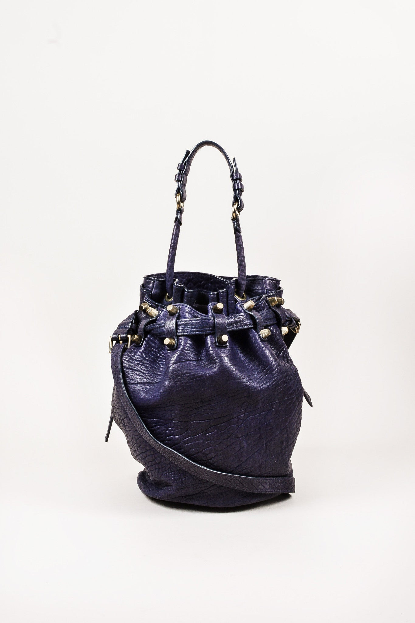 "Alexander Wang Dark Purple Pebbled Leather Brass Stud ""Diego"" Bucket Bag Frontview"