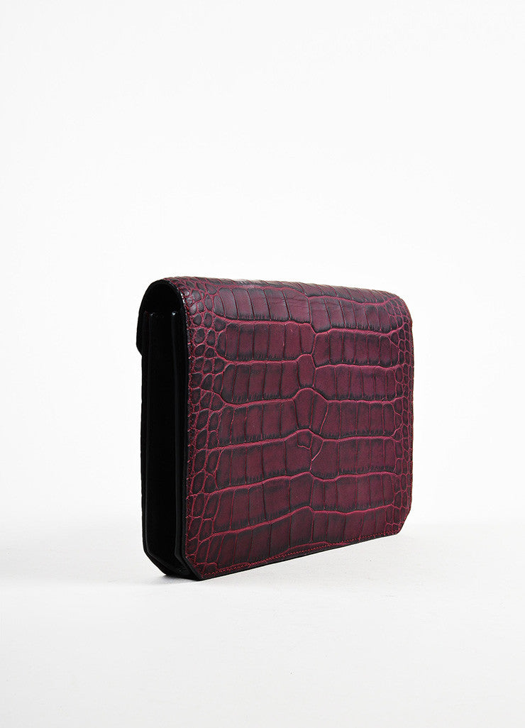 "Alexander Wang Red Leather Crocodile Embossed ""Prisma"" Envelope Clutch Bag Sideview"