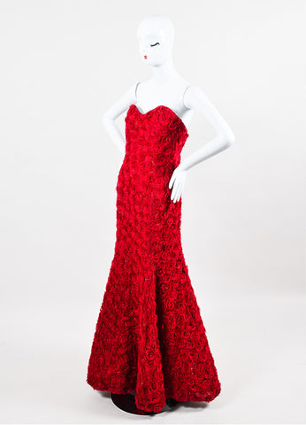 Anna Maier Couture Red Chiffon Rosette Beaded Strapless Sweetheart Mermaid Gown Sideview