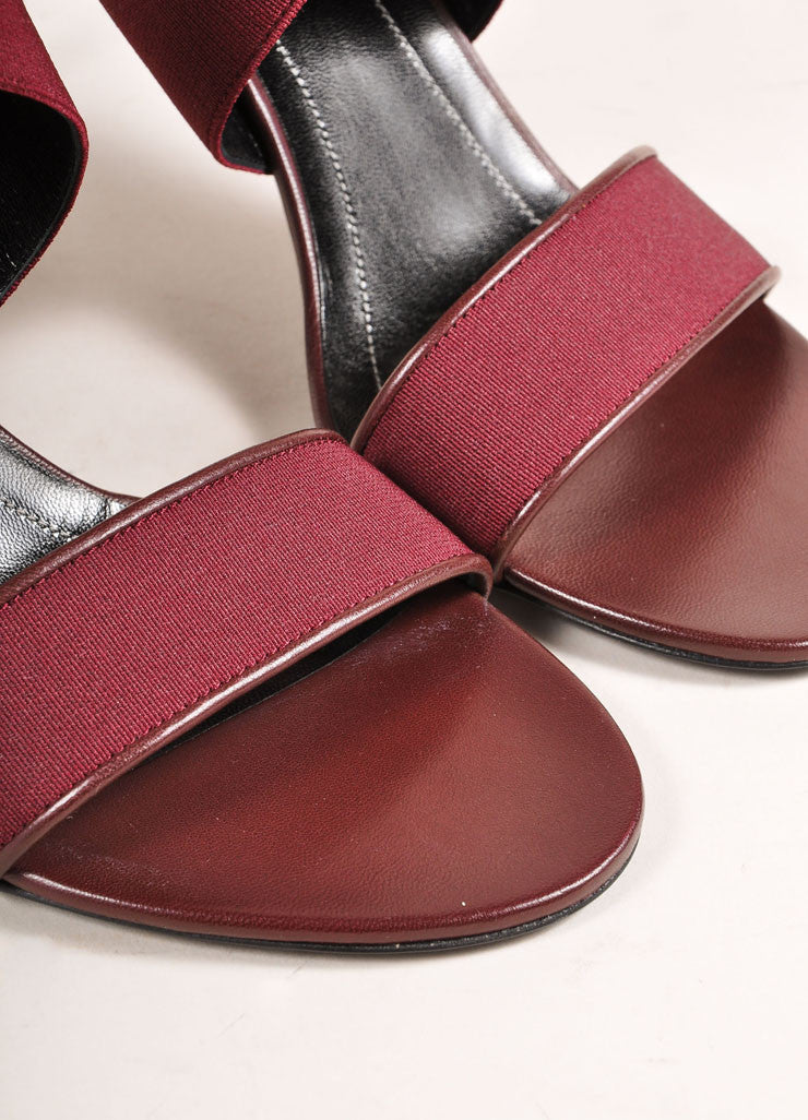 Balenciaga New In Box Maroon Elastic Leather Strappy High Heel Sandals Detail