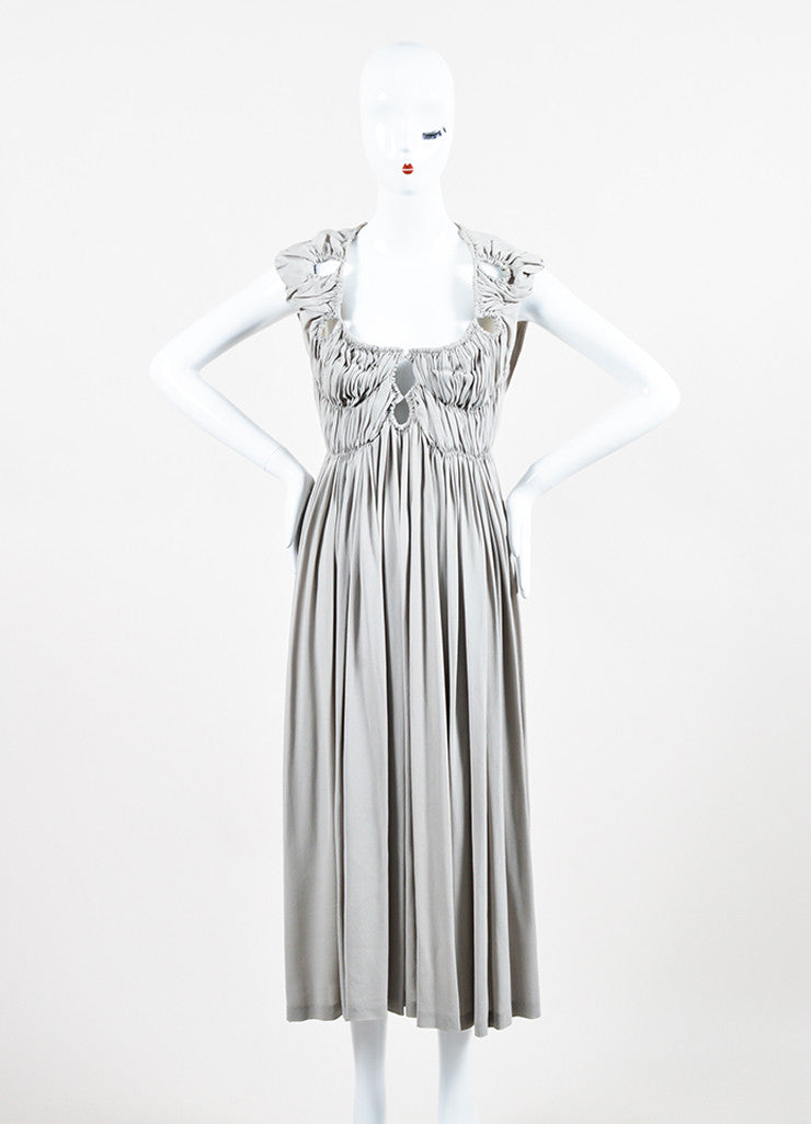 Bottega Veneta Grey Silk Ruched Pleated Cut Out Sleeveless Midi Dress Frontview