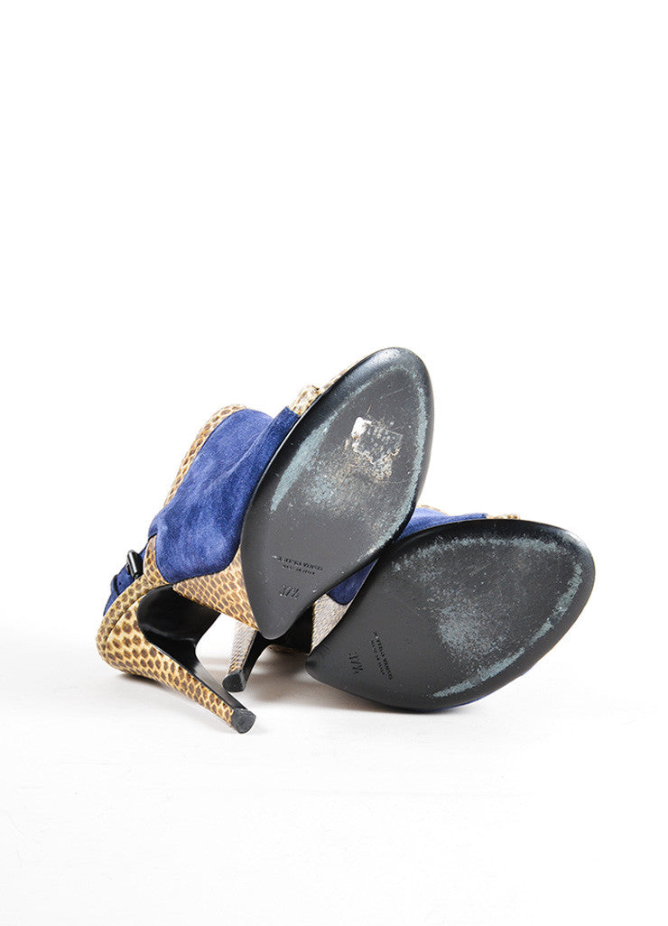 Bottega Veneta Navy and Tan Snakeskin and Suede Leather Slingback Sandals Outsoles