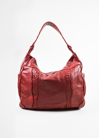 Red Bottega Veneta Leather Woven Trim Oversized Hobo Tote Bag Front