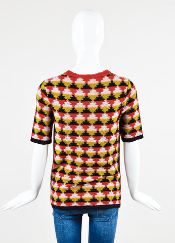 Red, Yellow, and Black Bottega Veneta Knit Diamond Print Short Sleeve Sweater Top Backview