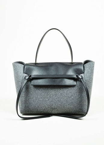 "Black and Grey Wool and Felt Top Handle Celine ""Belt"" Flap Bag Frontview"