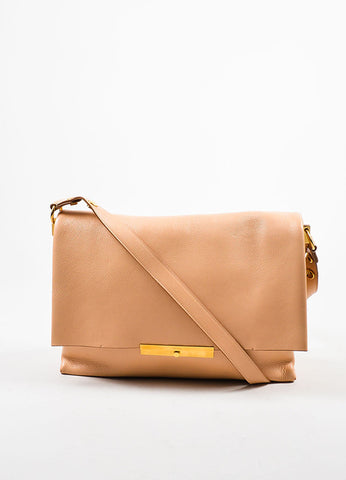 "Celine Blush and Gold Toned Grain Leather Flap ""Blade"" Crossbody Bag Frontview"