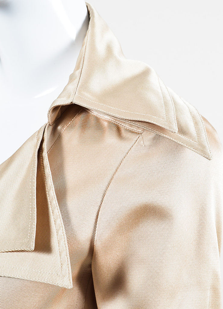 Nude Tan Chanel Silk Twill Double Breasted Trench Coat Detail 2