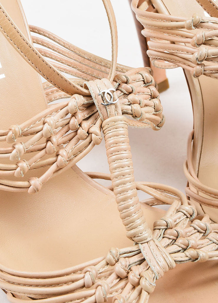 Chanel Beige Nude Leather Strappy Knotted High Heel Sandals Detail