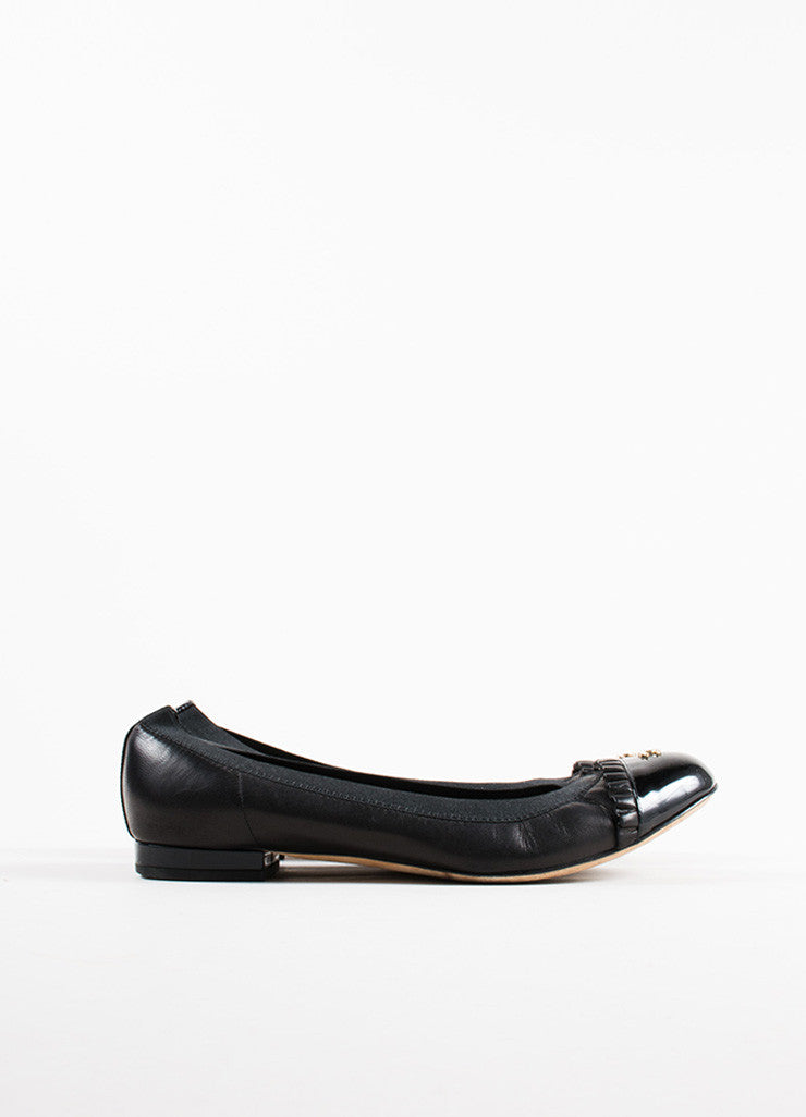"Chanel Black Leather Ruffle Trim ""CC"" Cap Toe  Ballerina Flats Sideview"