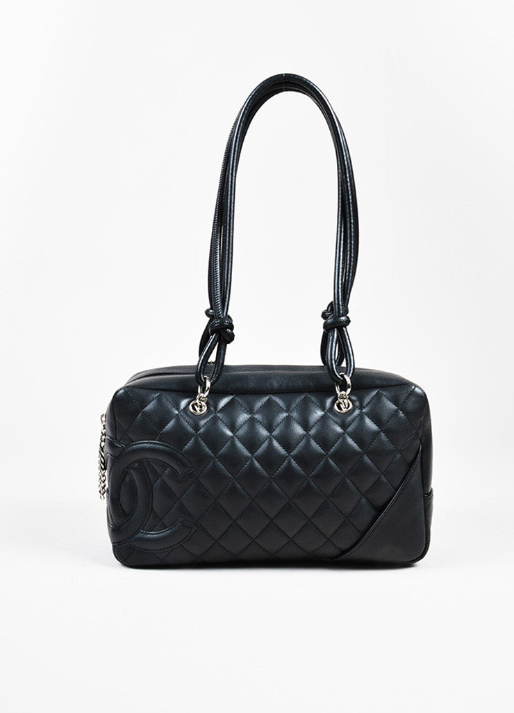 "Black Chanel Quilted Lambskin ""Ligne Cambon Bowler Bag"" Front"