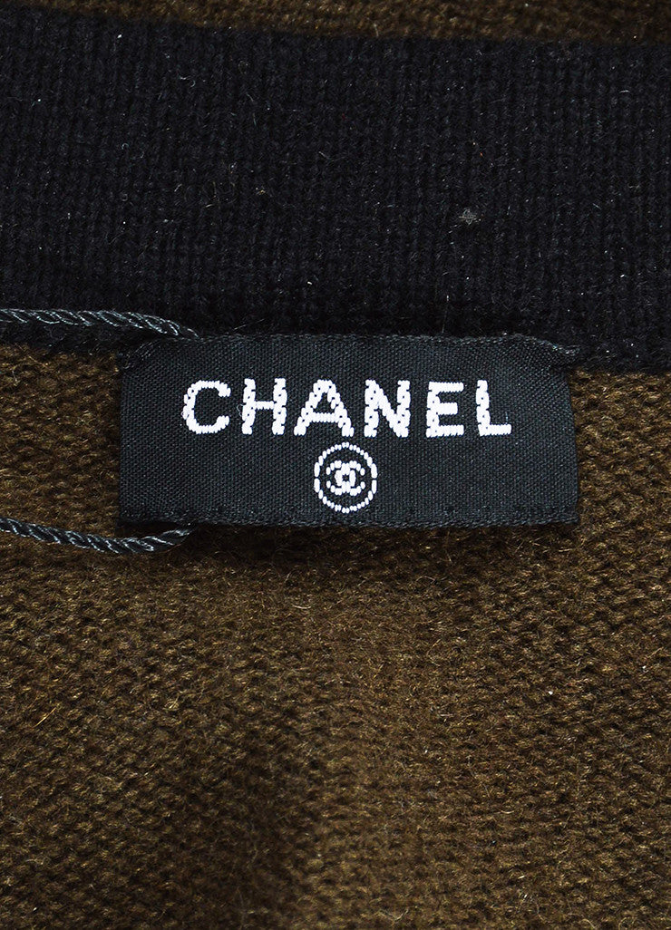 Chanel Brown and Black Wool 'CC' Button Long Sleeve Cardigan Sweater Brand