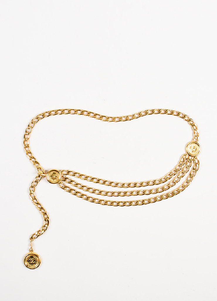 Chanel Gold Toned Triple Strand Chain Link 'CC' Coin Medallions Belt Frontview