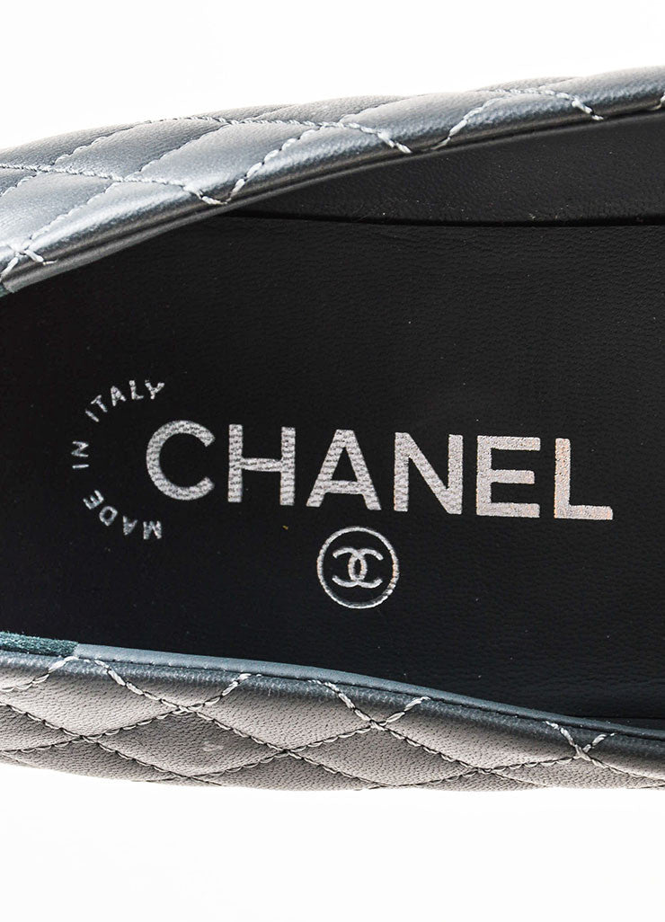 Grey and Black Chanel Lambskin Leather Quilted Cap Toe Ballerina Flats Brand