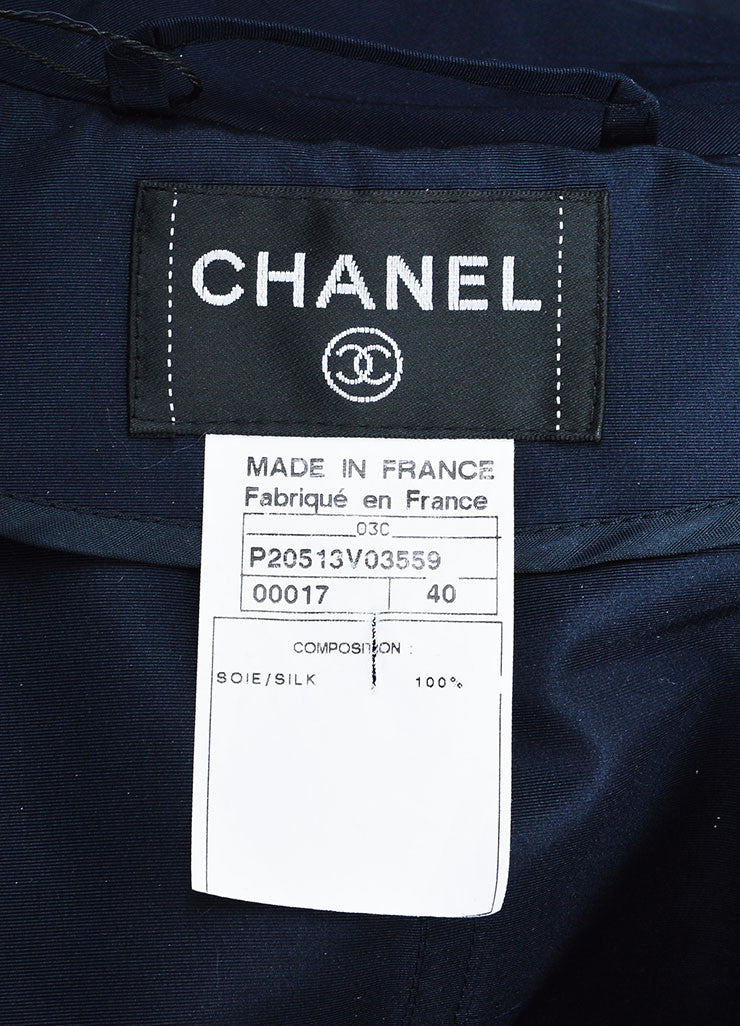 Navy Blue Chanel Silk Camellia Applique Belted 'CC' Button Trench Coat Brand