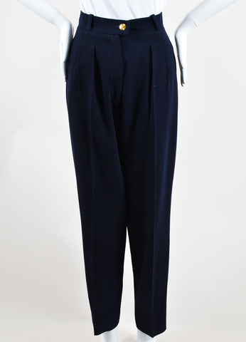 Chanel Navy Wool Straight Leg Trousers Frontview