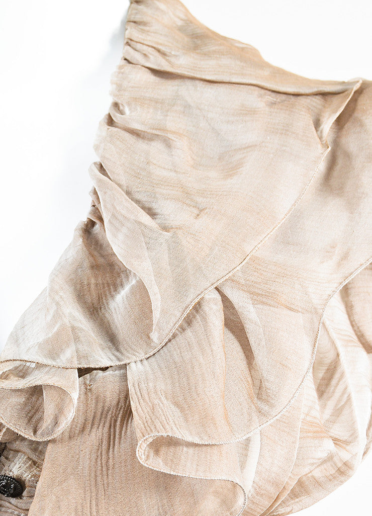 Chanel Sample Taupe Silk V-Neck Short Sleeve Ruffle Flare Hem Dress Detail