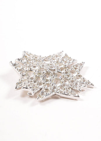 Chanel Silver Toned Clear Crystal Rhinestone Embellished Starburst Pin Brooch Sideview