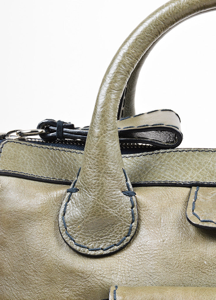 "Olive Green Chloe Leather ""Edith"" Zip Satchel Tote Bag Detail 2"