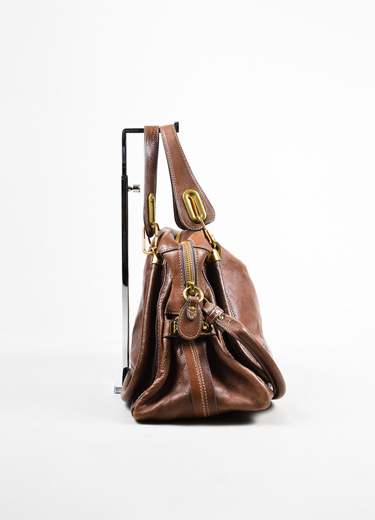 "Chloe Brown Gold Toned Leather ""Paraty"" Hobo Bag Sideview"
