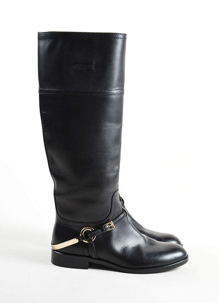 Christian Dior Black and Silver Tone Leather Harness Flat Riding Boots Sideview