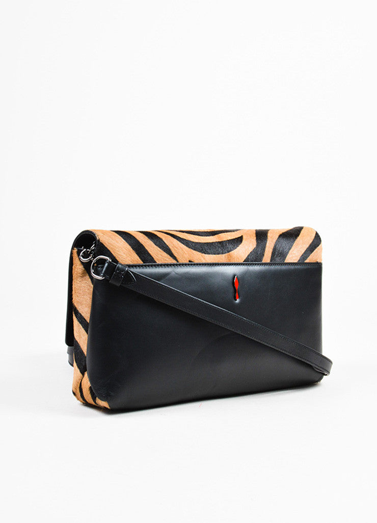 "Christian Louboutin ""Dune"" Tan Black Ponyhair Tiger Print ""Rougissime"" Bag Backview"