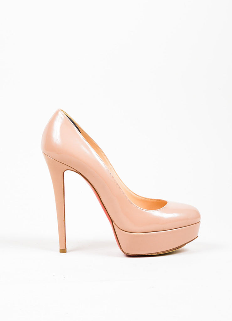 "Nude Christian Louboutin Patent Leather Platform ""Bianca"" Pumps Sideview"