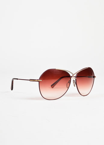Dita Maroon Gold Toned Matte Coated Oversized Aviator Sunglasses Sideview