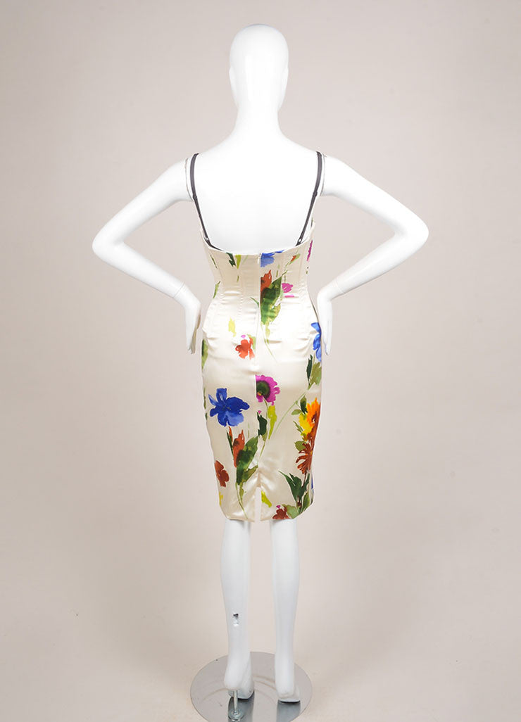 Dolce & Gabbana Cream and Multicolor Floral Print Bustier Dress Backview