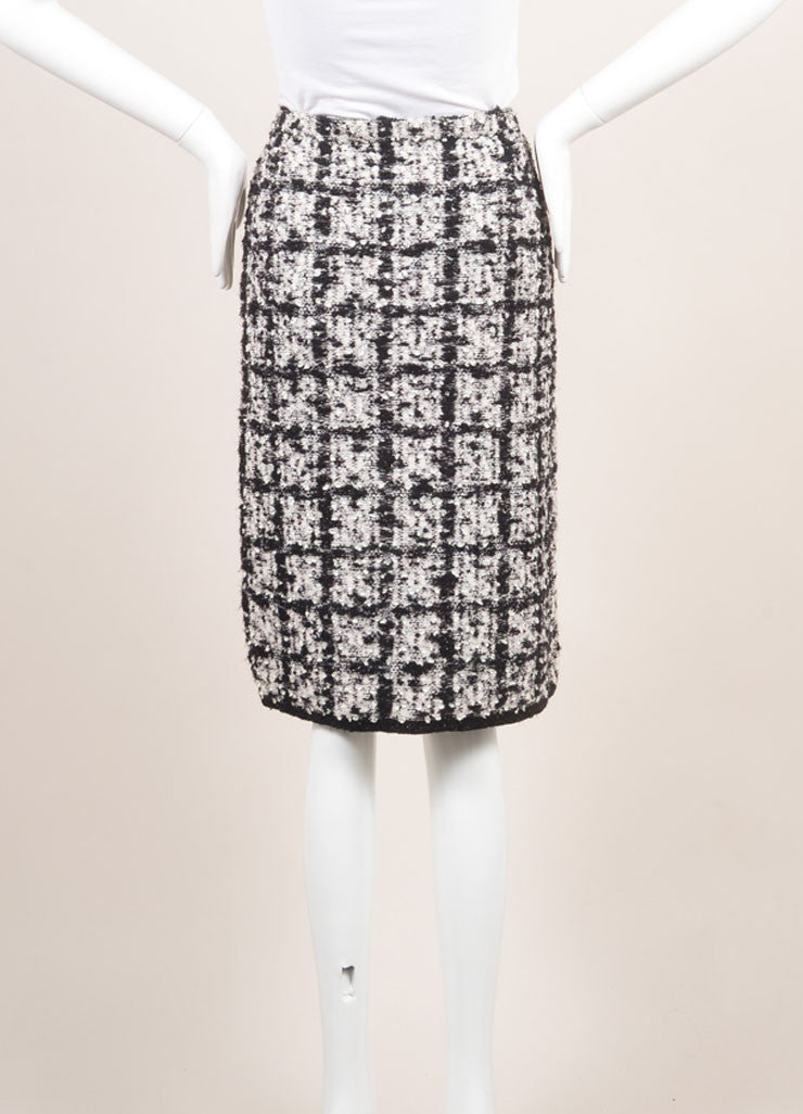 Escada Black and White Wool Tweed Check Pencil Skirt  Frontview