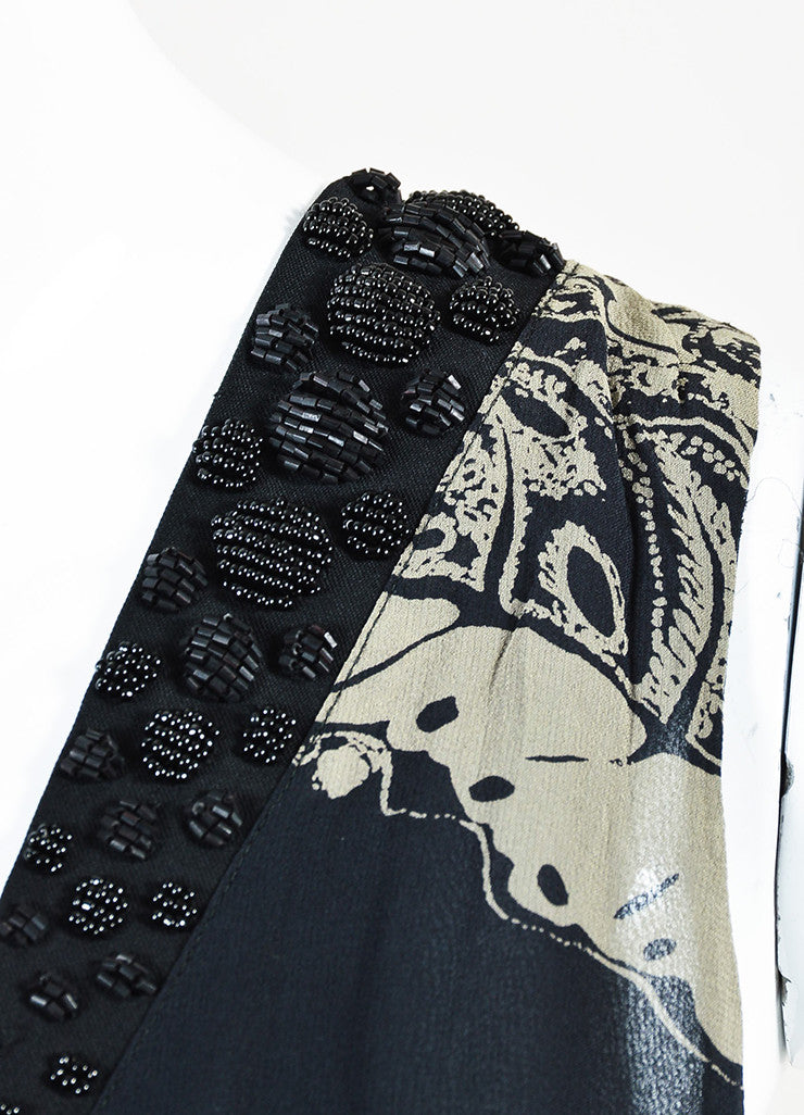 Black and Grey Etro Silk Chiffon Sleeveless Beaded Elastic Waist Dress Detail