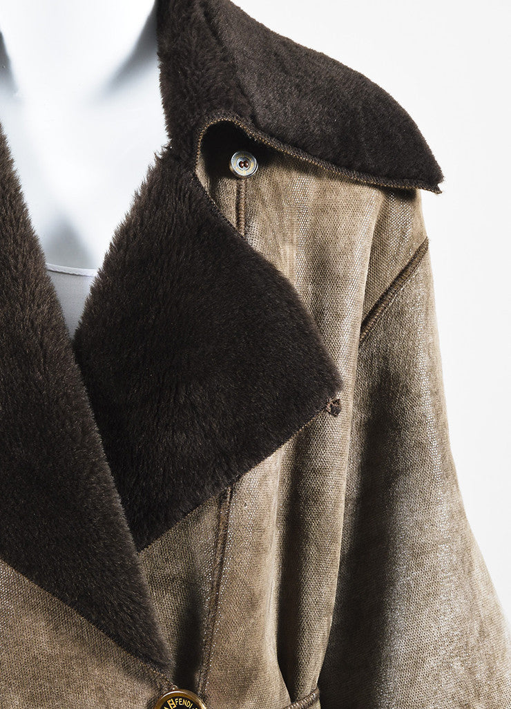 Fendi Brown Shearling Leather Fur Full Length Belted Coat Detail