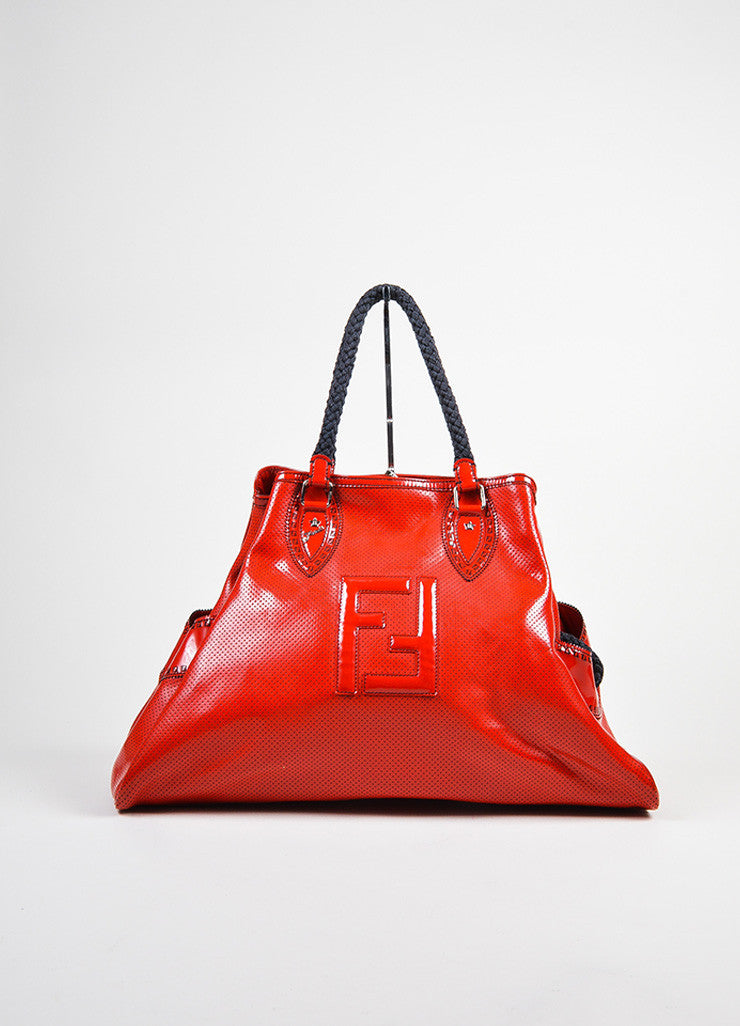 "Red and Black Fendi Patent Leather Woven Top Handle Perforated ""Bag De Jour"" Tote Bag Frontview"