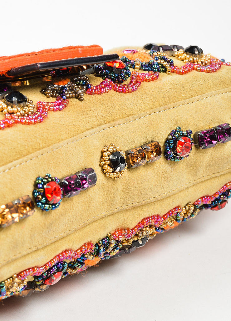 "Tan Fendi Suede, Rhinestone, and Bead Embellished Top Flap ""Baguette"" Shoulder Bag Bottom View"