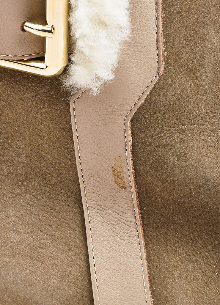 Fendi Taupe Shearling Lined Buckle Detail Wedge Booties Detail 2