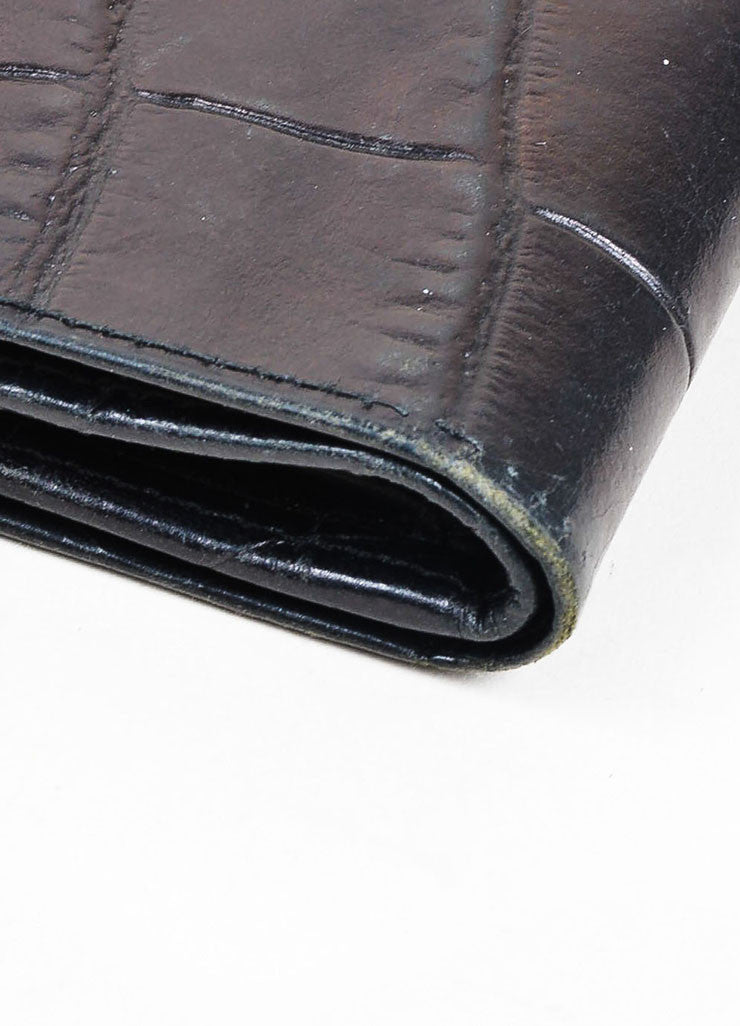 Black Gianni Versace Crocodile Embossed Leather Medusa Trifold Wallet Detail