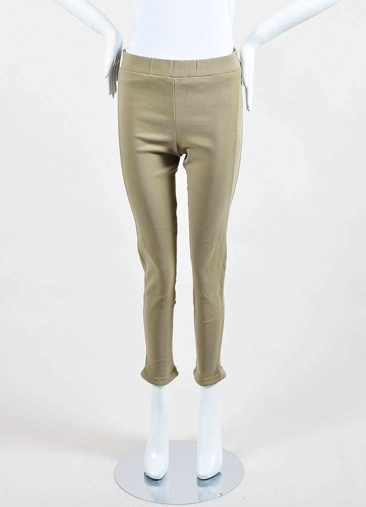 Khaki Beige Givenchy Cotton Nylon Blend Stretch Zip Skinny Moto Leggings Frontview