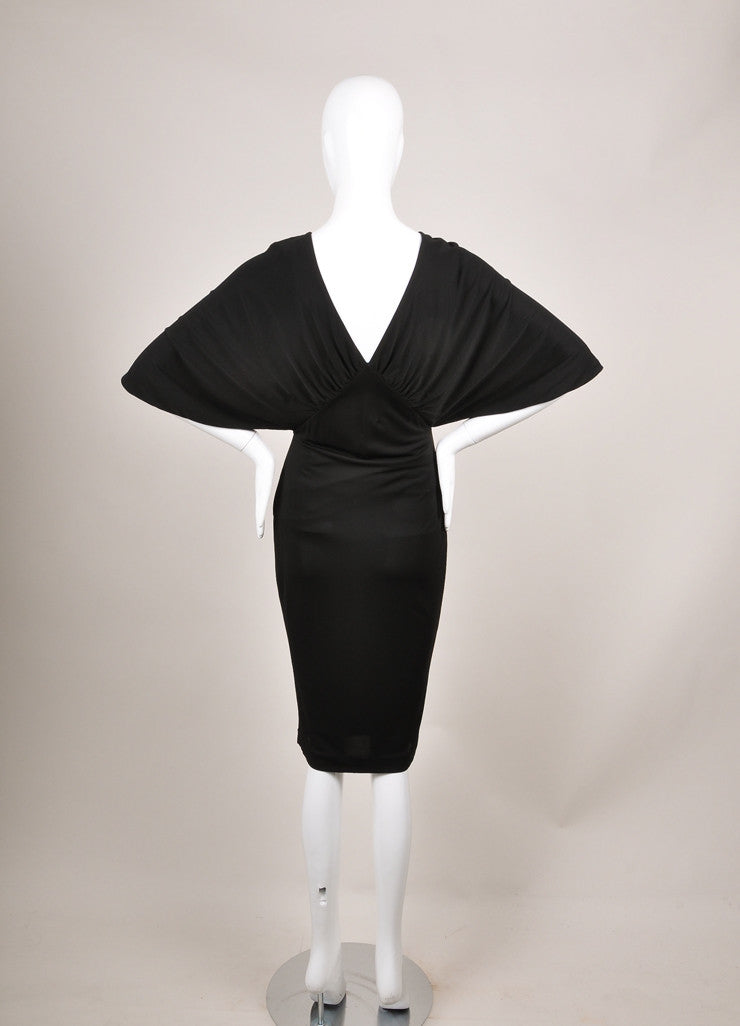 Givenchy New With Tags Black Cross Drape Mid-Sleeve Jersey Dress Backview